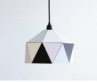 Cut Out Template Lampshade: The print is downloadable from the internet for a small fee and the lampshade is folded and pieced together according to the instructions.