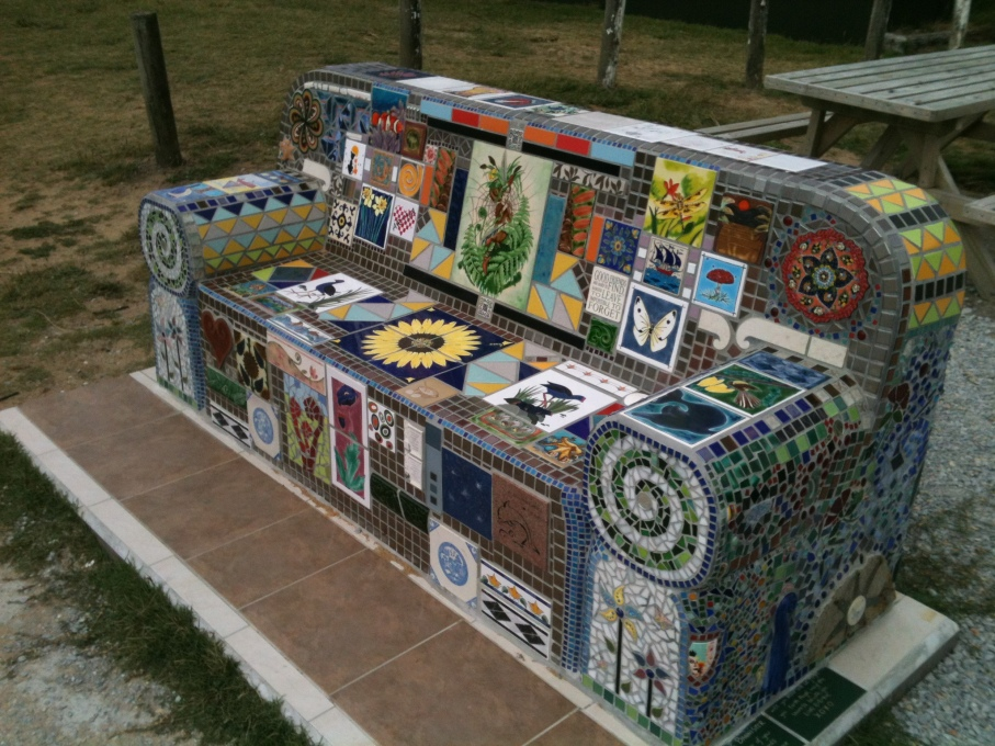 Mosaic Bench on Tata Beach near the Abel Tasman National Park, Golden Bay northern New Zealand.