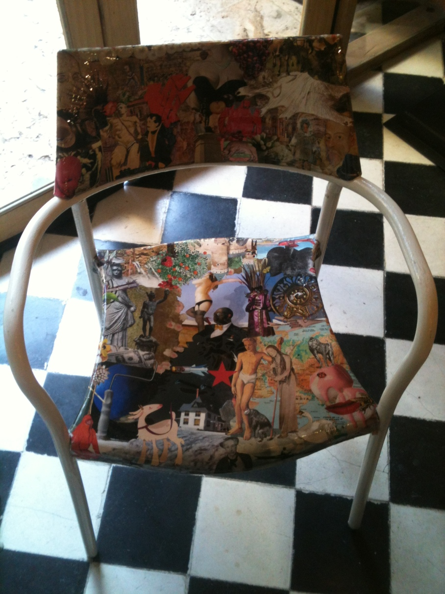 Collage chair in a restaurant in the beautiful old walled town of Cartagena on Colombia's Caribbean coast.